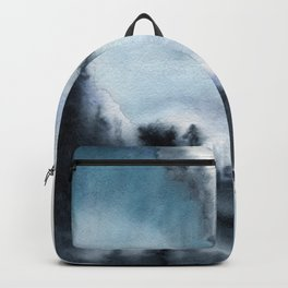 Watercolor landscape of a mountain with trees against a background of clouds, fog and storm clouds Backpack