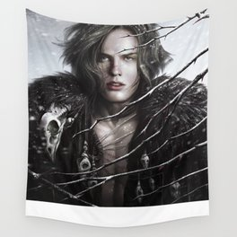Black Wolf Fur Wall Tapestry