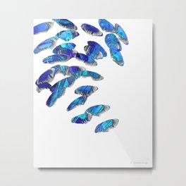Blue And White Modern Art - Falling 2 - Sharon Cummings Metal Print