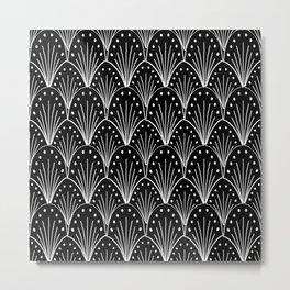 linocut 20s art deco pattern minimal black and white printmaking art Metal Print