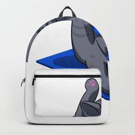 Yoga cat - Angry cat - grey cat - fat cat Backpack
