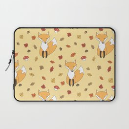 cute autumn pattern with leaves, foxes, mushrooms, acorns and chestnuts Laptop Sleeve