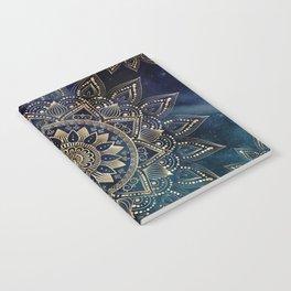 Elegant Gold Mandala Blue Galaxy Design Notebook