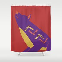 coyote Shower Curtains featuring Coyote by Claire Lordon
