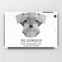 schnauzer iPad Cases featuring The Schnauzer by The Origami Pet Collection