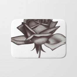 Black and White Rose in Ink Bath Mat