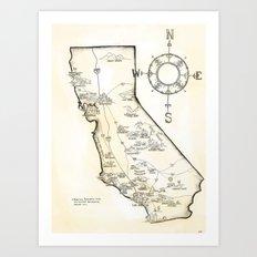 California Farms Map Art Print