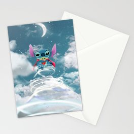 Stitch flyng on the sky Stationery Cards