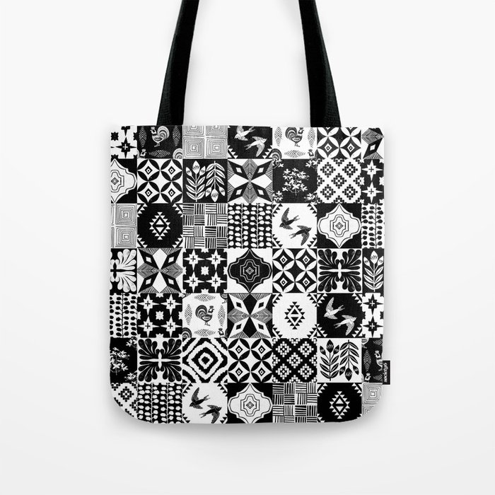 Linocut Tiles Patchwork Quilt Pattern Black And White Decor Tote Bag