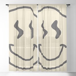 Wonky Smiley Face - Black and Cream Sheer Curtain