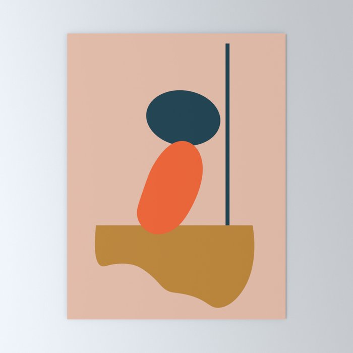 Abstract #1 Orange Blue Beige Mini Art Print