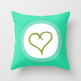 Green Heart with Love Throw Pillow