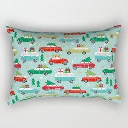 Christmas car tradition christmas trees holiday pattern winter festive Rectangular Pillow