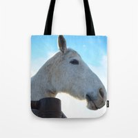 dessert Tote Bags featuring Dessert Rider by Emily Dwan