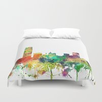 oklahoma Duvet Covers featuring Oklahoma City, Oklahoma skyline SP by Marlene Watson