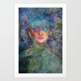 Blinded by Aqua - a painted woman Art Print