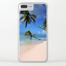 Beach palms Clear iPhone Case