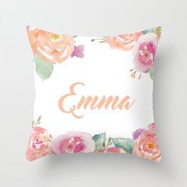 Emma Floral Name Throw Pillow