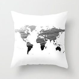 World Map - Ocean Texture - Black and White Throw Pillow