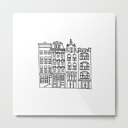 canal houses four Metal Print
