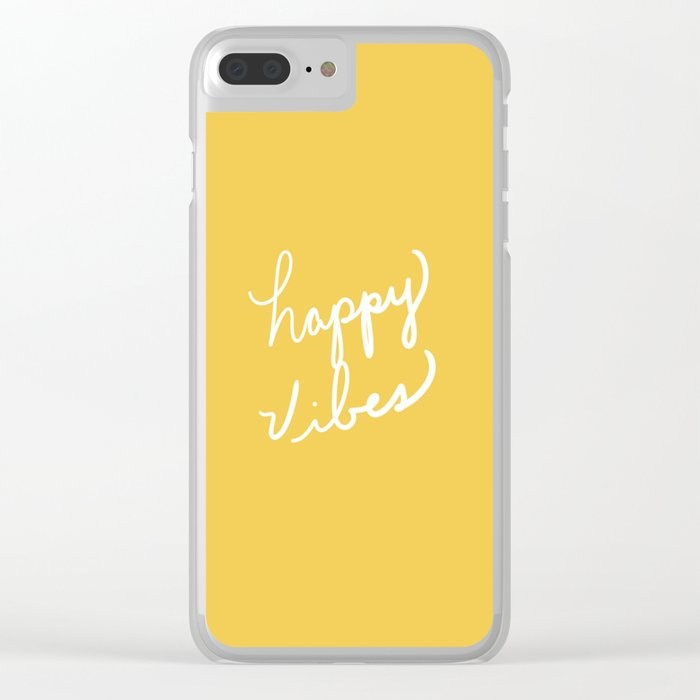 Happy Vibes Yellow Clear iPhone Case