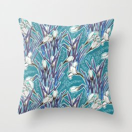 Crocuses, floral pattern in turquoise, blue and white Throw Pillow