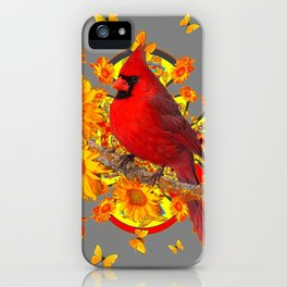 BUTTERFLIES  RED CARDINAL YELLOW SUNFLOWERS iPhone Case