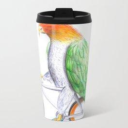 Happy Parrot and his bike Metal Travel Mug