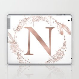 Letter N Rose Gold Pink Initial Monogram Laptop & iPad Skin