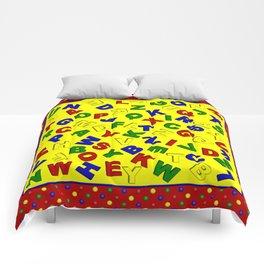 Primary Polka Dots RED Alphabet  Comforters