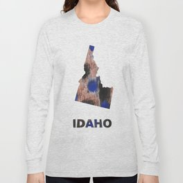 Idaho map outline Black Blue colorful watercolor texture Long Sleeve T-shirt