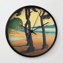 Kawase Hasui Vintage Japanese Woodblock Print Kazusa Beach in Hizen Province Wall Clock