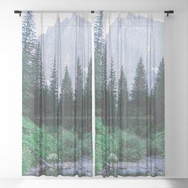 Mountain Through The Lush Forest Sheer Curtain