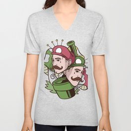 Brothers with mushrooms Unisex V-Neck