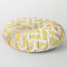Brick Pattern 1 in Gold and Silver Floor Pillow