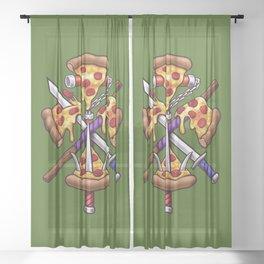 Ninja Pizza Sheer Curtain