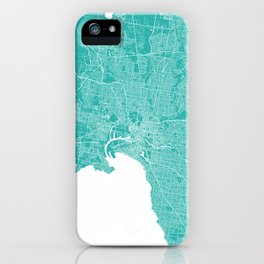 Melbourne map turquoise iPhone Case