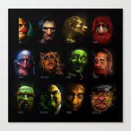 Muppets Noir (with names) Canvas Print