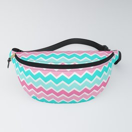 Turquoise Aqua Blue and Hot Pink Ombre Chevron Fanny Pack