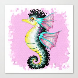 Seahorse Pink Stained Glass Pattern Canvas Print