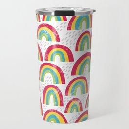 Rainbow showers - white Travel Mug
