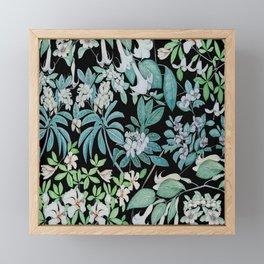 white floral pattern on black background Framed Mini Art Print