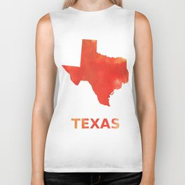 Texas map outline Tomato stained watercolor texture Biker Tank