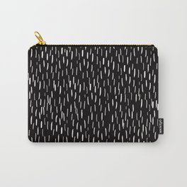 Dark Winter Night- White Strokes Lines on Black - Mix & Match with Simplicity of life Carry-All Pouch