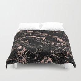 Modern girly faux rose gold foil black marble Duvet Cover
