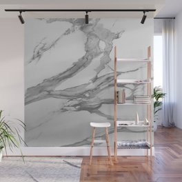White Marble With Silver-Grey Veins Wall Mural
