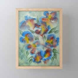Abstract Flowers Blue Watercolor Framed Mini Art Print