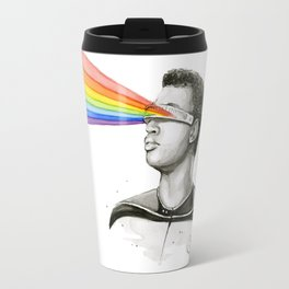 Geordi Rainbow Watercolor Portrait Geek Sci-fi Travel Mug