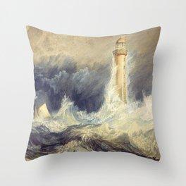 "J.M.W. Turner ""Bell Rock Lighthouse"" Throw Pillow"