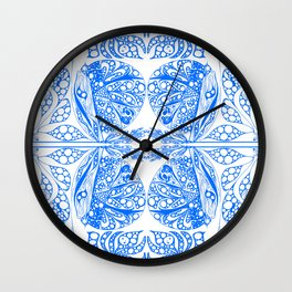 Doodles in blue Wall Clock